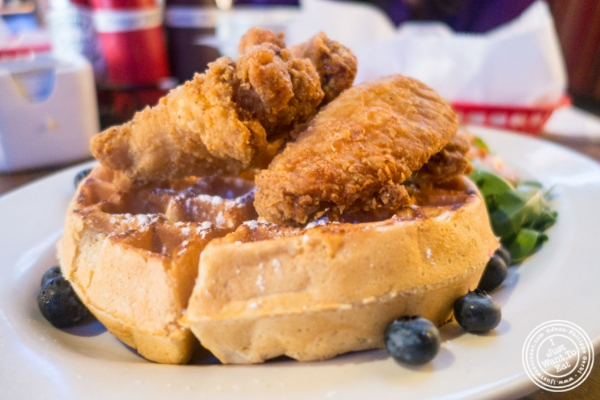 Fried chicken and waffle at The Smokin' Barrel in Hoboken, NJ