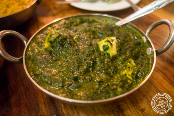 Saag paneer at Baluchi's, Indian restaurant in Tribeca, NYC, New York