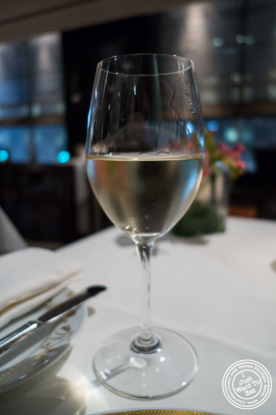 Glass of Sancerre wine at Ai Fiori in New York, NY