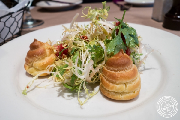 Goat cheese profiteroles at Landmarc in Tribeca, New York, NY