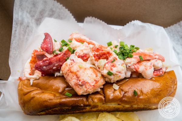 Lobster roll at Ed's Lobtser Bar at The Gansevoort Market in New York, NY