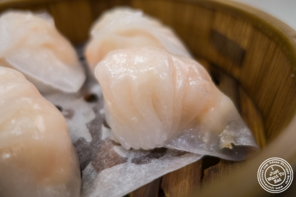 Har Gow or shrimp dumpling at Jing Fong, Dim Sum Restaurant in Chinatown, New York, NY