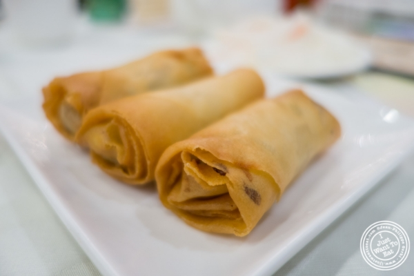 Fried vegetable Spring rolls at Jing Fong, Dim Sum Restaurant in Chinatown, New York, NY