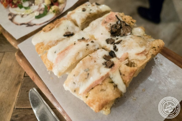 Taleggio and Truffle focaccia at Rosemary's, Italian Restaurant in NYC, New York