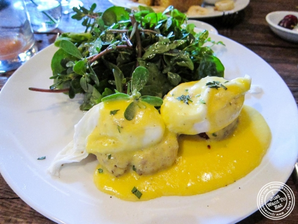 Crab cakes benedict at Bobo in NYC, New York
