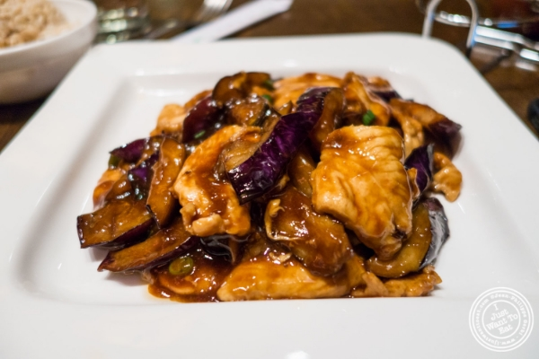 Chicken and eggplant with brown sauce at Saigon 48, Asian restaurant near Times Square, NYC, New York