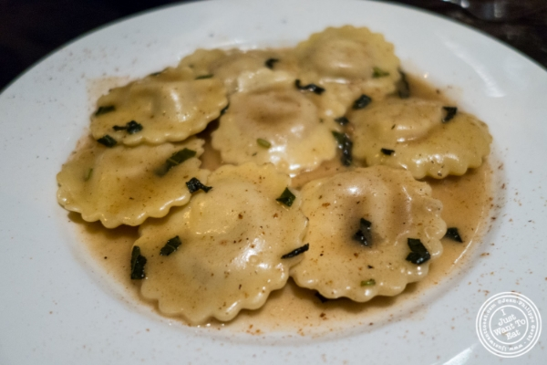 Butternut squash ravioli at Petrarca Cucina e Vino, Italian restaurant in Tribeca, NYC, New York