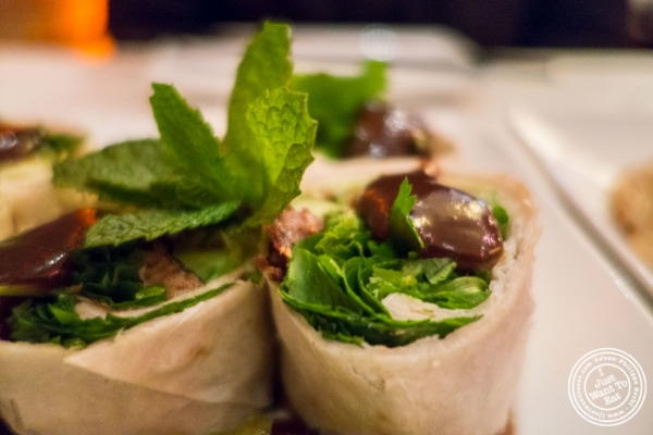 Roasted duck wraps at Lotus Blue, Chinese restaurant in Tribeca, NYC, New York