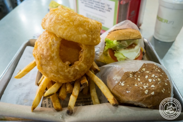 Burgers, fries and onions rings at Burger Fi in Yorkville, NYC, New York