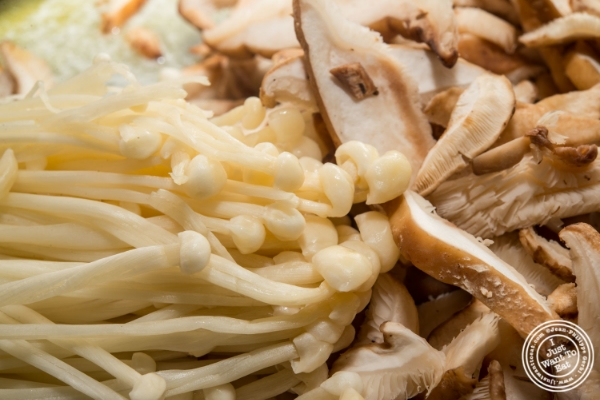 Enoki and shiitake mushrooms