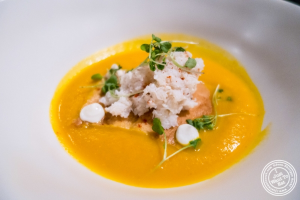 Carrot and crab bisque at Blenheim in NYC, New York