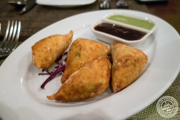 Vegetable samosas at Mint, Indian restaurant in Midtown East, NYC, New York