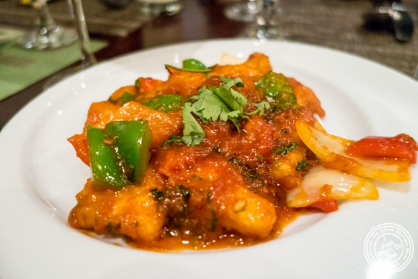 Chilly fish at Mint, Indian restaurant in Midtown East, NYC, New York