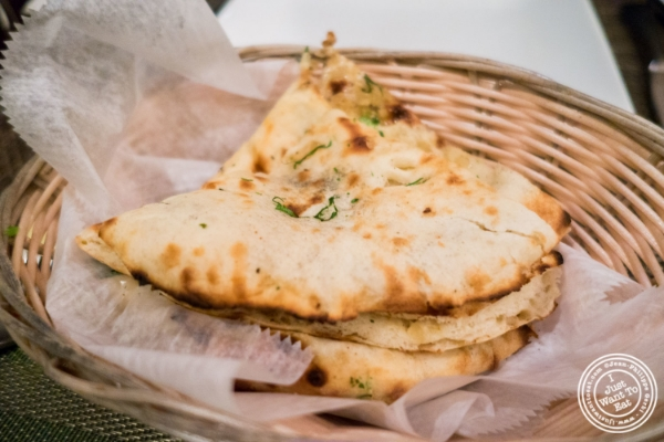 Naan bread at Mint, Indian restaurant in Midtown East, NYC, New York