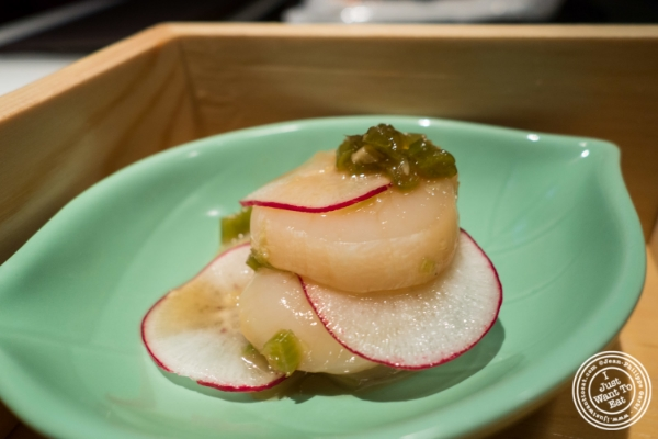 Scallop sashimi at Fushimi in Williamsburg, Brooklyn, NY