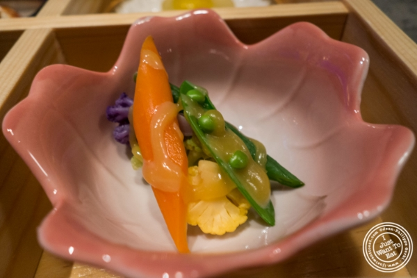 Chilled vegetables with saikyo miso at Fushimi in Williamsburg, Brooklyn, NY