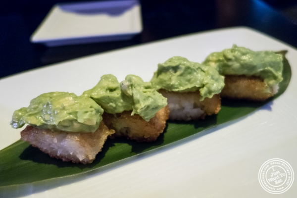 Crispy rice with avocado at Koi Soho in the Trump Hotel, NYC, New York