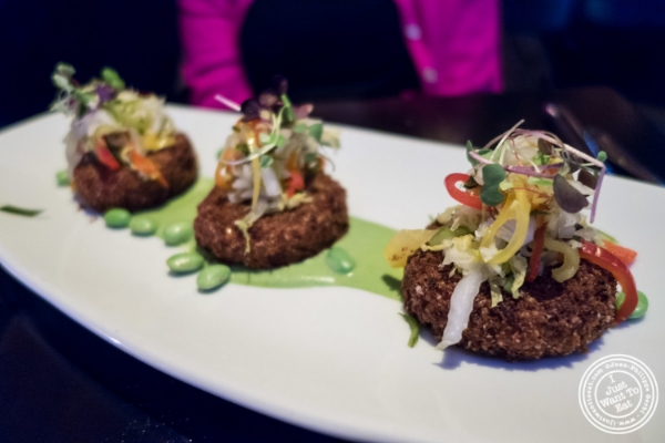 Vegetable quinoa croquettes at   Koi Soho in the Trump Hotel, NYC, New York