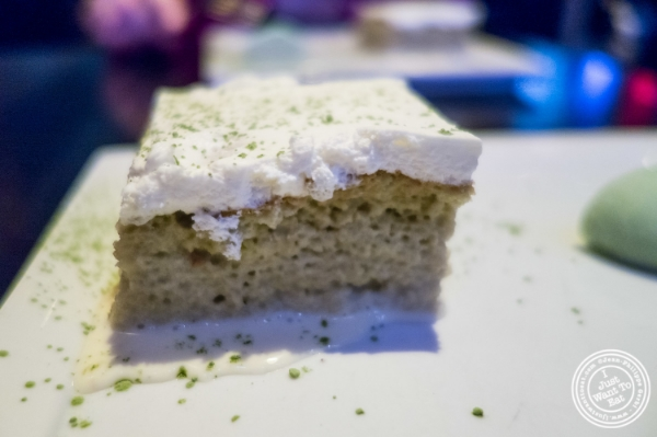Green tea tres leches  at   Koi Soho in the Trump Hotel, NYC, New York