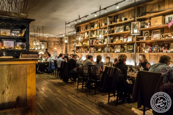 Dining room at Marc Forgione restaurant in Tribeca, NYC, New York