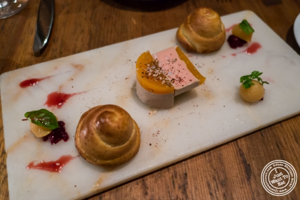 Foie gras at Marc Forgione restaurant in Tribeca, NYC, New York