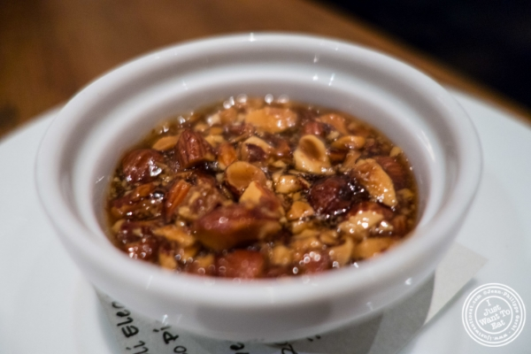 Smoked almond jam for Foie gras at Marc Forgione restaurant in Tribeca, NYC, New York