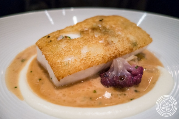 Halibut en croute at Marc Forgione restaurant in Tribeca, NYC, New York