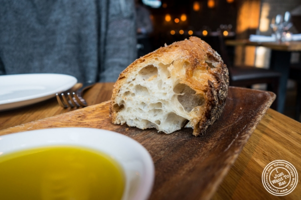 Bread and olive oil at L'Apicio, Italian-inspired restaurant in Greenwich Village