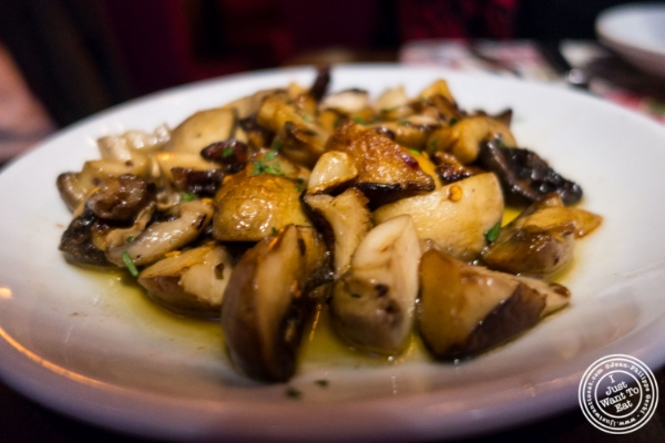 Mushrooms in garlic sauce at Tablao, Tapas restaurant in TriBeCa, NYC, New York