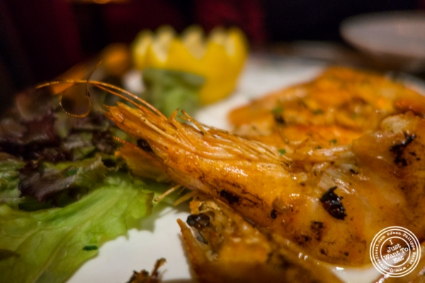 Shrimp a la plancha at Tablao, Tapas restaurant in TriBeCa, NYC, New York