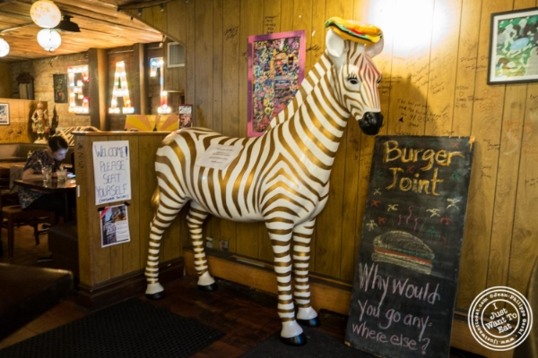 Zebra at Burger Joint W8th Street in NYC, New York