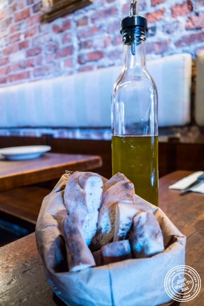 Bread and olive oil at Da Mikele by Luzzo's in Tribeca, NYC, New York