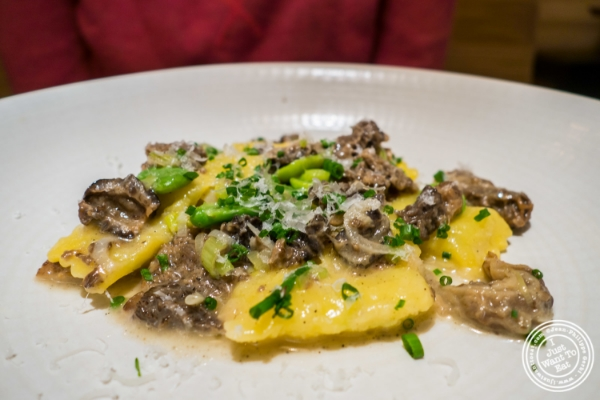 Butternut squash ravioli with morel mushrooms at Little Park in TriBeCa, NYC, New York