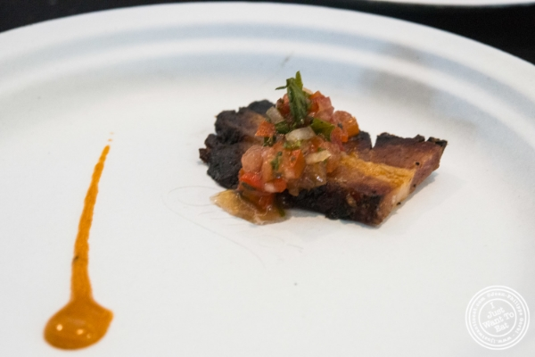 Cured bacon with tomato chimichuri at  Strip House at   Bacon and Beer Classic 2015 At Citi Field