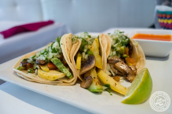 Vegetarian tacos at Sabores, Mexican restaurant in Hoboken, NJ