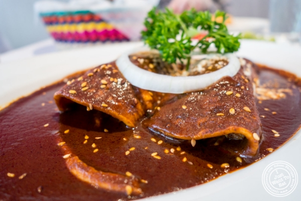 Enchiladas de mole at Sabores, Mexican restaurant in Hoboken, NJ