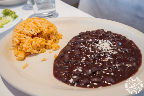 Rice and beans at Sabores, Mexican restaurant in Hoboken, NJ