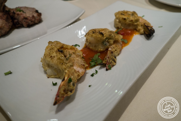 Shrimp ajwai kebab at Haldi, Indian restaurant in Curry Hill, NYC, New York