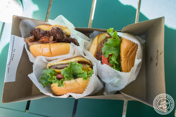 Burgers at  Shake Shack at Madison Square Park, NYC, New York