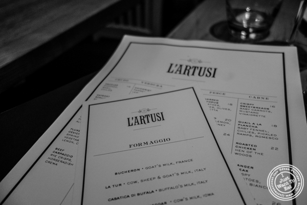 Menu at L'Artusi, Italian Restaurant in the West Village, NYC, New York