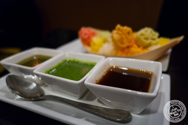 Snacks at  Benares, Indian restaurant in TriBeCa, NYC, New York