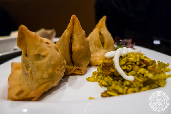 Samosas at  Benares, Indian restaurant in TriBeCa, NYC, New York
