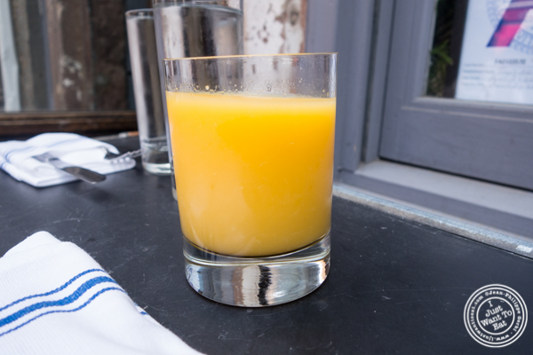 Orange juice at  Tiny's And The Bar Upstairs in TriBeCa, NYC, New York