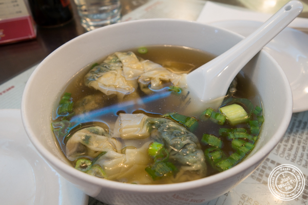 Vegetable dumplings soup at  The Great New York Noodlet  own in Chinatown