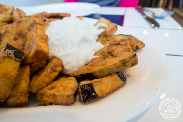 Melitzana or fried eggplant with tzatziki at It's Greek To Me in Hoboken, NJ