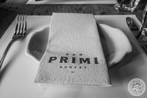 Table at Bar Primi in NYC, New York