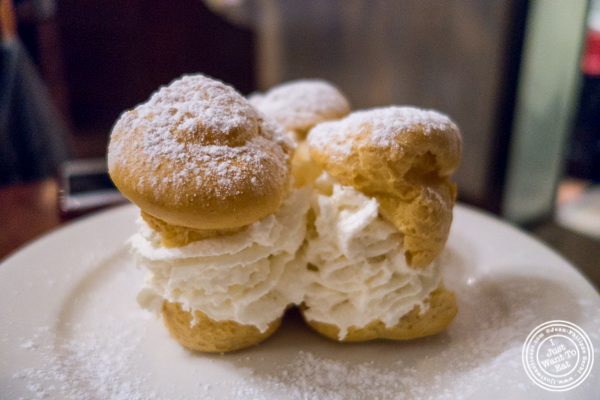 Chou with whipped cream at La Sirene, French Restaurant, NYC, New York