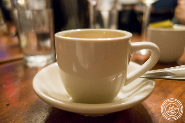 Decaf espresso at La Sirene, French Restaurant, NYC, New York