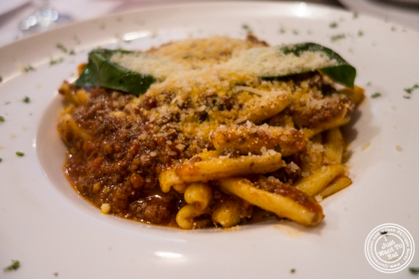 Cavatelli bolognese at Cara Mia, Italian restaurant in Hell's Kitchen
