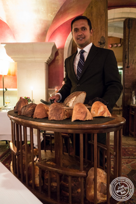 Bread cart at Bouley in TriBeCa, NYC, New York